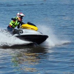 Woman Riding High-Speed Jet Ski
